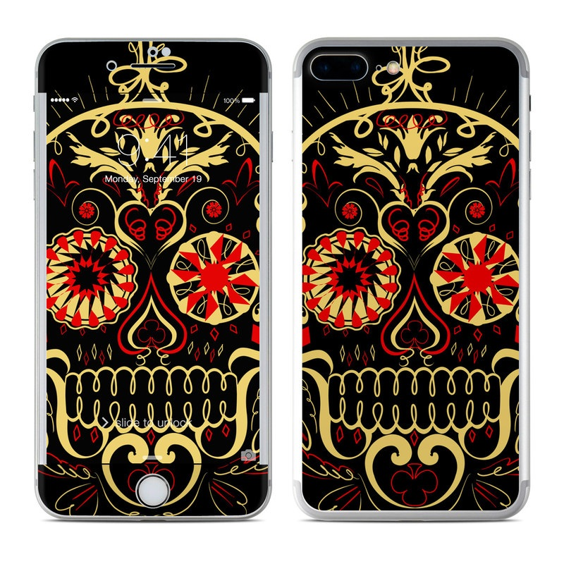 iPhone 7 Plus Skin design of Font, Illustration, Emblem, Graphic design, Logo, Pattern, Design, Visual arts, Graphics, Art with black, red, green colors