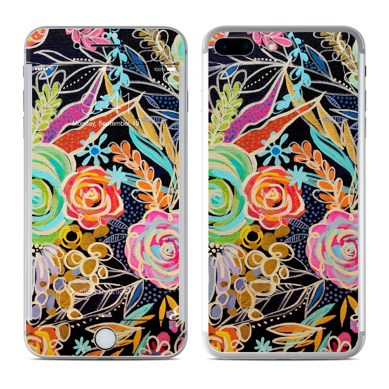 iPhone 7 Plus Skin design of Pattern, Floral design, Design, Textile, Visual arts, Art, Graphic design, Psychedelic art, Plant with black, gray, green, red, blue colors