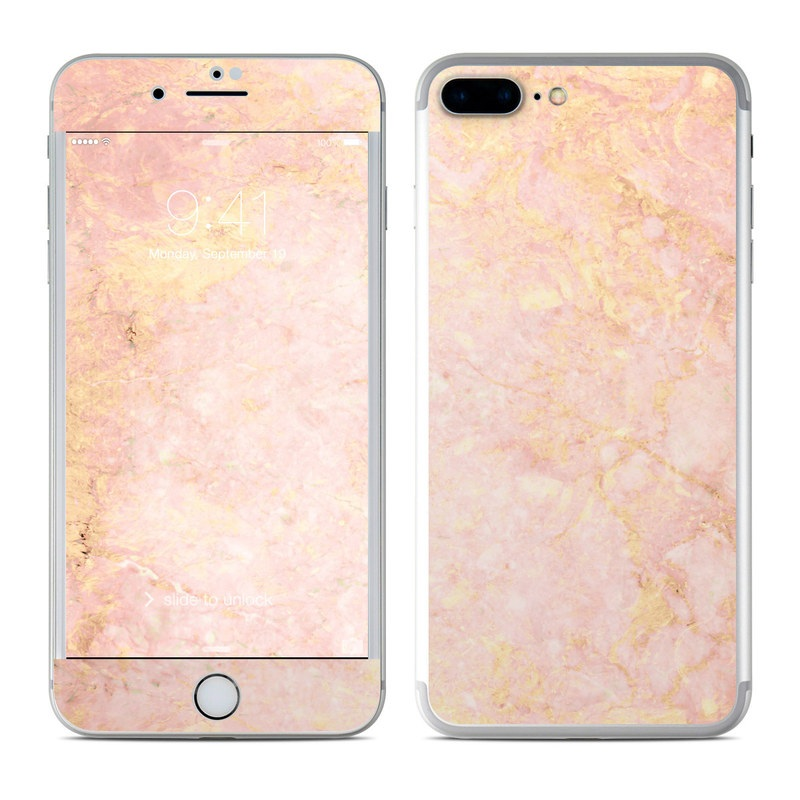 iPhone 7 Plus Skin design of Pink, Peach, Wallpaper, Pattern with pink, yellow, orange colors