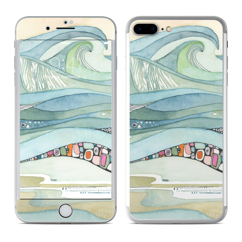 iPhone 7 Plus Skin design of Line, Illustration, Art with blue, green, orange, pink, black, white, yellow colors