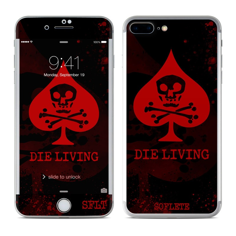 iPhone 7 Plus Skin design of Red, Font, Text, Skull, Logo, Graphics, Graphic design, Illustration, Fiction, Fictional character with black, red colors