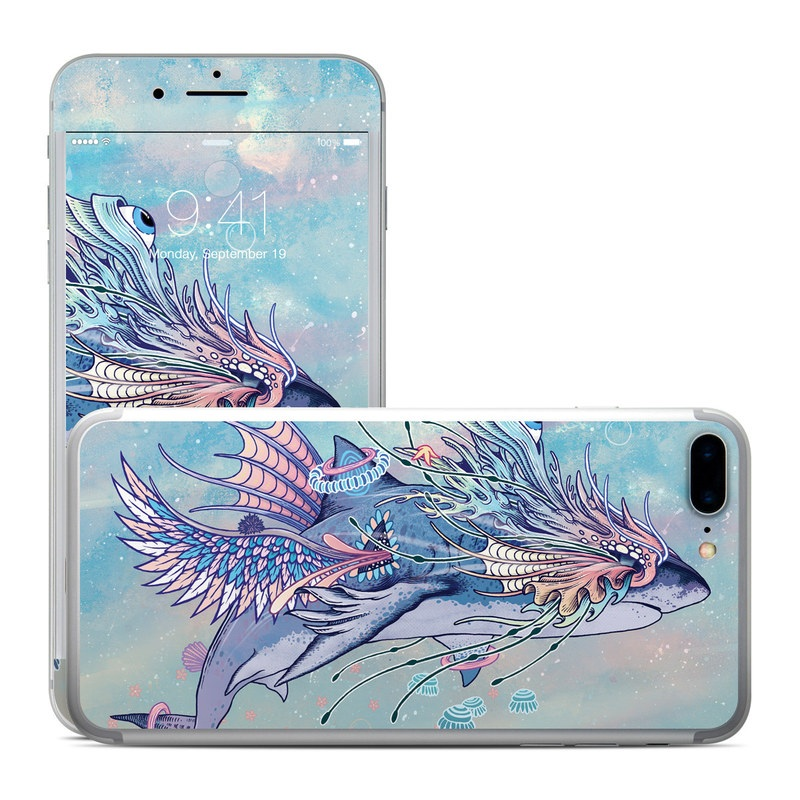 iPhone 7 Plus Skin design of Illustration, Fictional character, lionfish, Art, Fish, Feather with blue, orange, yellow, pink, gray colors
