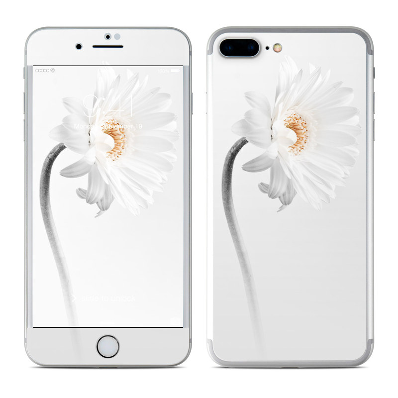 iPhone 7 Plus Skin design of White, Hair accessory, Headpiece, Gerbera, Petal, Flower, Plant, Still life photography, Headband, Fashion accessory with white, gray colors