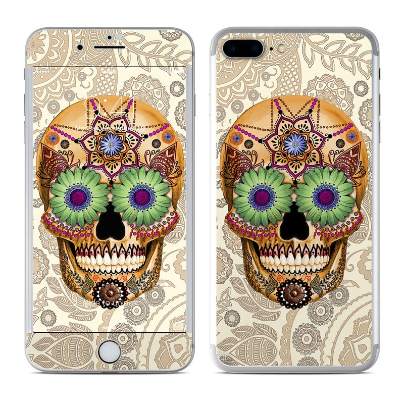iPhone 7 Plus Skin design of Skull, Bone, Pattern, Design, Illustration, Visual arts, Fashion accessory, Art with gray, yellow, green, black, red, pink colors