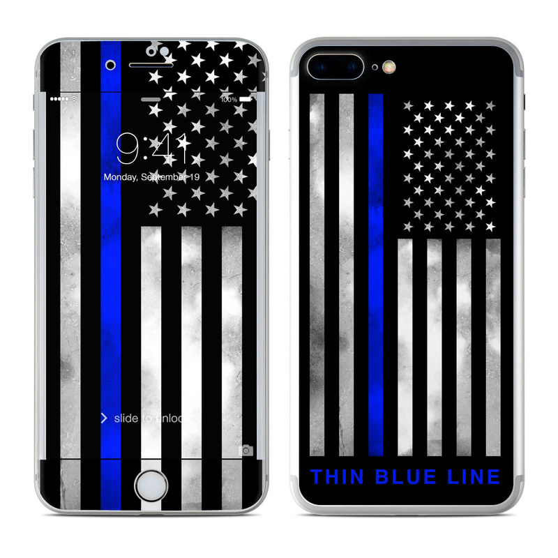 iPhone 7 Plus Skin design of Line, Flag, Text, Flag of the united states, Font, Parallel, Symmetry, Black-and-white, Pattern, Graphics with black, white, gray, blue colors