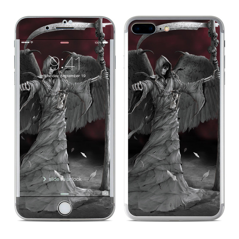 iPhone 7 Plus Skin design of Black-and-white, Wing, Monochrome photography, Angel, Still life photography, Feather, Monochrome, Fictional character, Photography, Supernatural creature with black, gray colors