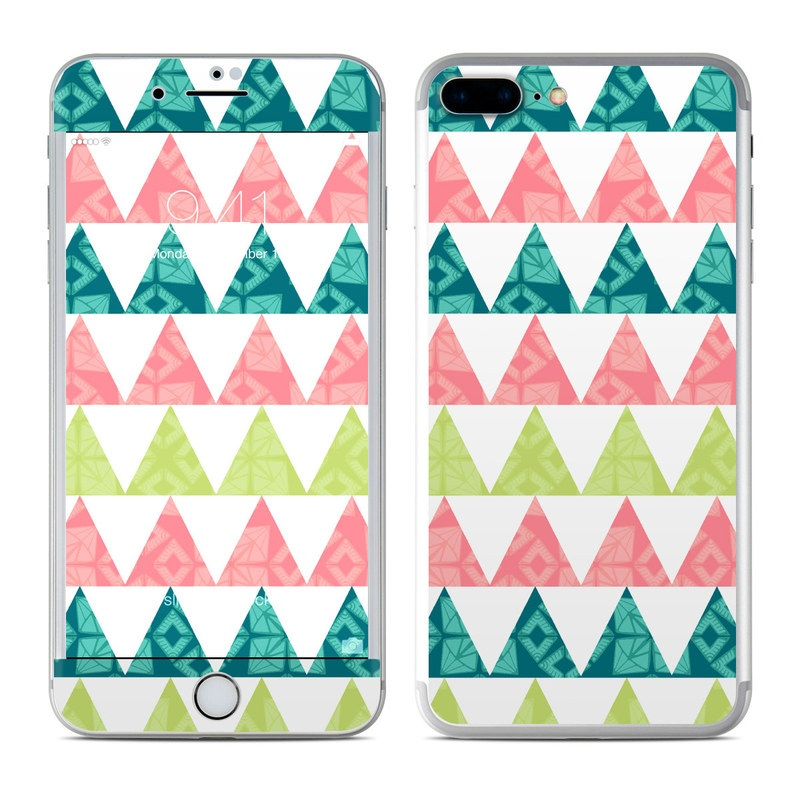 iPhone 7 Plus Skin design of Green, Pattern, Line, Design, Textile, Symmetry with white, green, pink colors