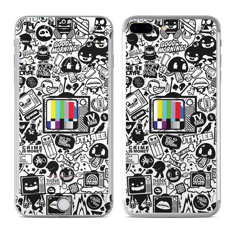 iPhone 7 Plus Skin design of Pattern, Drawing, Doodle, Design, Visual arts, Font, Black-and-white, Monochrome, Illustration, Art with gray, black, white colors