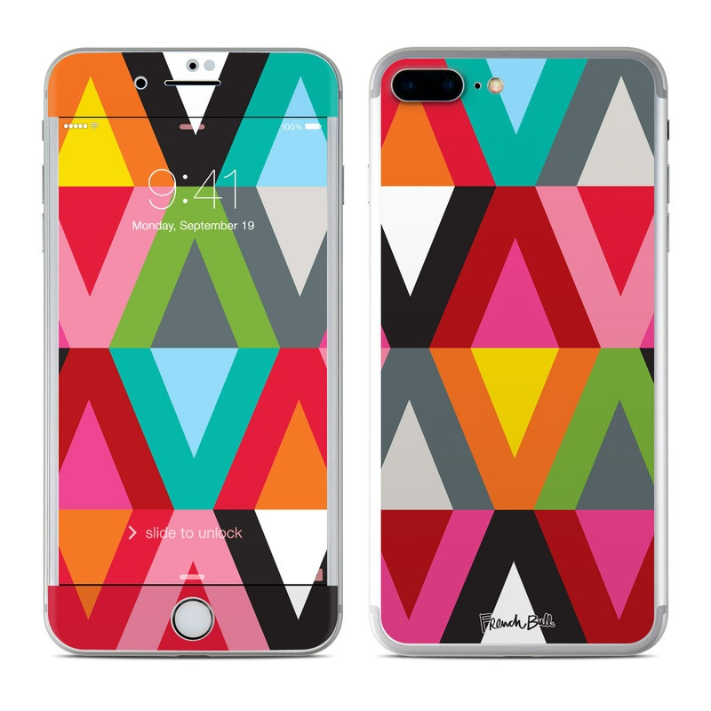 iPhone 7 Plus Skin design of Pattern, Orange, Yellow, Graphic design, Colorfulness, Line, Design, Symmetry, Triangle, Font with black, white, red, orange, pink, blue, green, gray colors