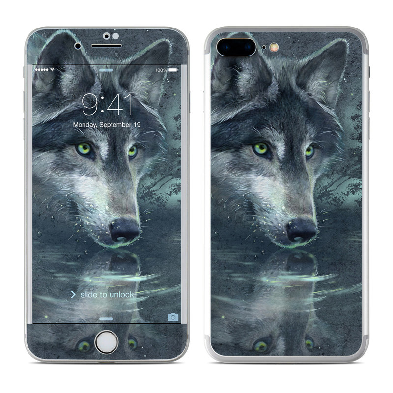 iPhone 7 Plus Skin design of Wolf, Canidae, Wildlife, Red wolf, Canis, canis lupus tundrarum, Snout, Saarloos wolfdog, Wolfdog, Carnivore with black, gray, blue colors
