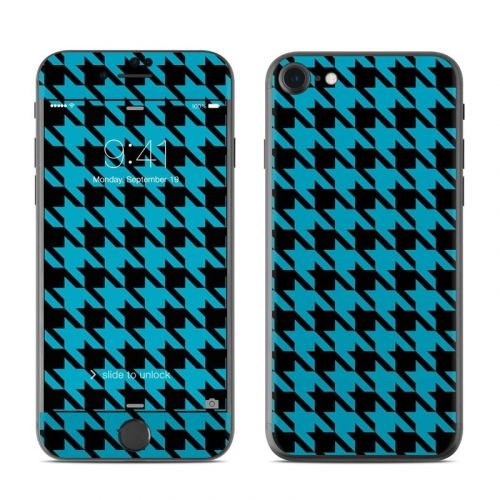 Teal Houndstooth iPhone 8 Skin