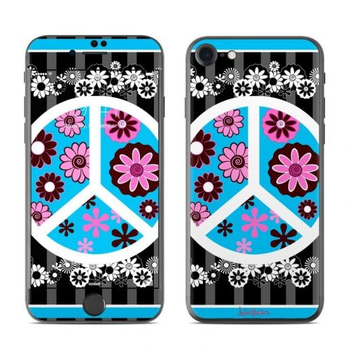 Peace Flowers Black iPhone 8 Skin