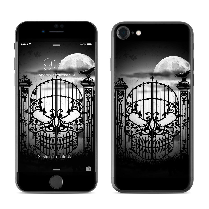 iPhone 8 Skin design of Iron, Lighting, Monochrome, Darkness, Light fixture, Black-and-white, Architecture, Monochrome photography, Sky, Metal with black, gray, white colors