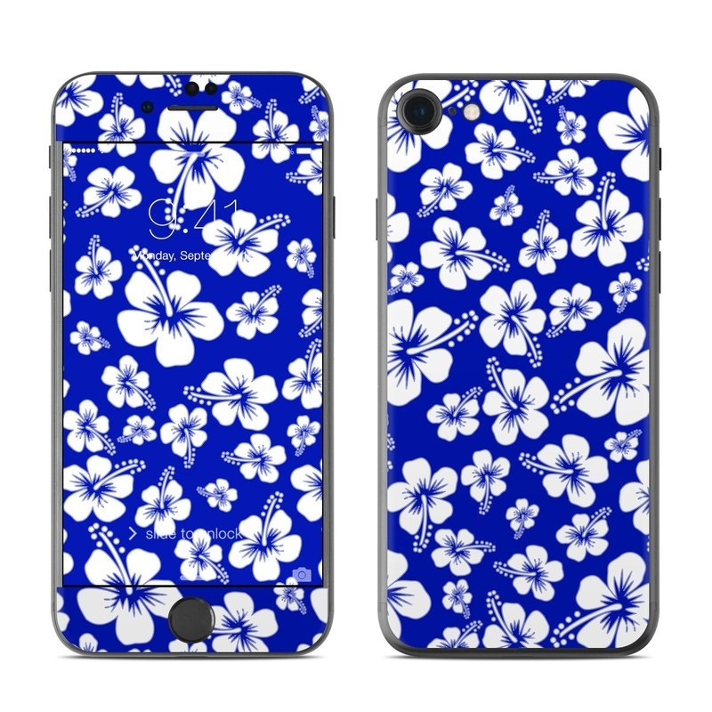 iPhone 8 Skin design of Blue, Pattern, Plant, Flower, Petal, Design, Wildflower, Floral design, Black-and-white, Visual arts with blue, white colors
