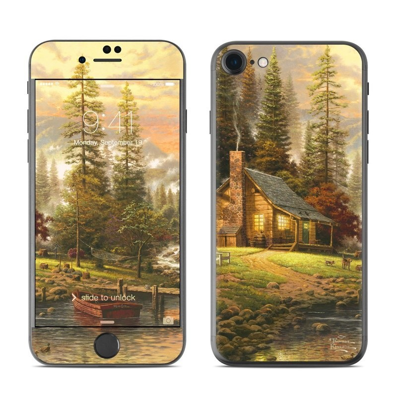 iPhone 8 Skin design of Natural landscape, Nature, Painting, Tree, Landscape, Morning, Sky, Biome, Sunlight, Forest with orange, red, green, brown colors