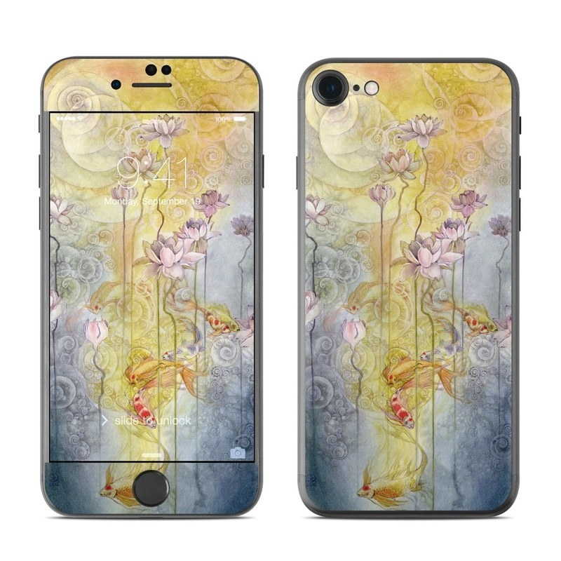 iPhone 8 Skin design of Watercolor paint, Painting, Art, Yellow, Flower, Acrylic paint, Floral design, Visual arts, Modern art, Illustration with blue, red, orange, pink, yellow colors