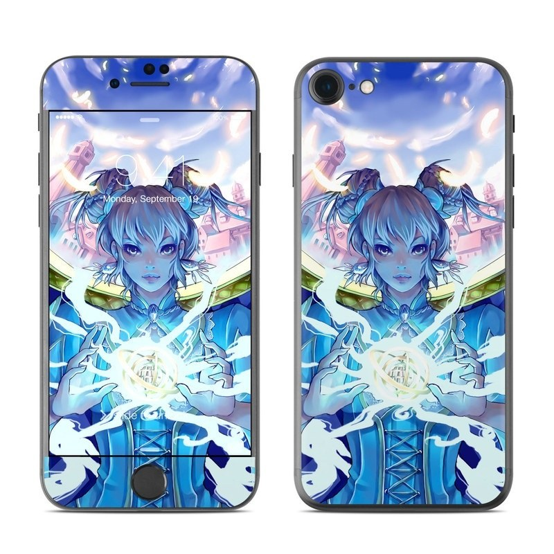 iPhone 8 Skin design of Cg artwork, Anime, Cartoon, Sky, Long hair, Illustration, Fictional character, Black hair, Art with blue, purple, pink, white, yellow colors