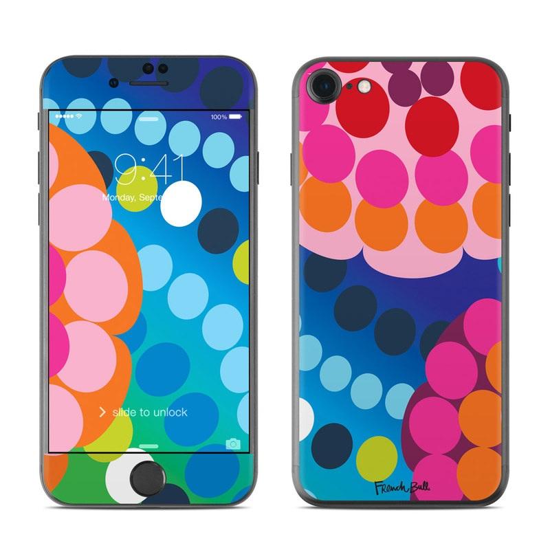 iPhone 8 Skin design of Pattern, Circle, Orange, Colorfulness, Design, Line, Polka dot, Graphic design, Graphics, Heart with blue, green, pink, orange, purple colors