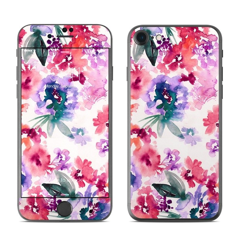 iPhone 8 Skin design of Purple, Pattern, Pink, Lilac, Violet, Flower, Watercolor paint, Floral design, Plant, Design with green, pink, red, purple, white colors