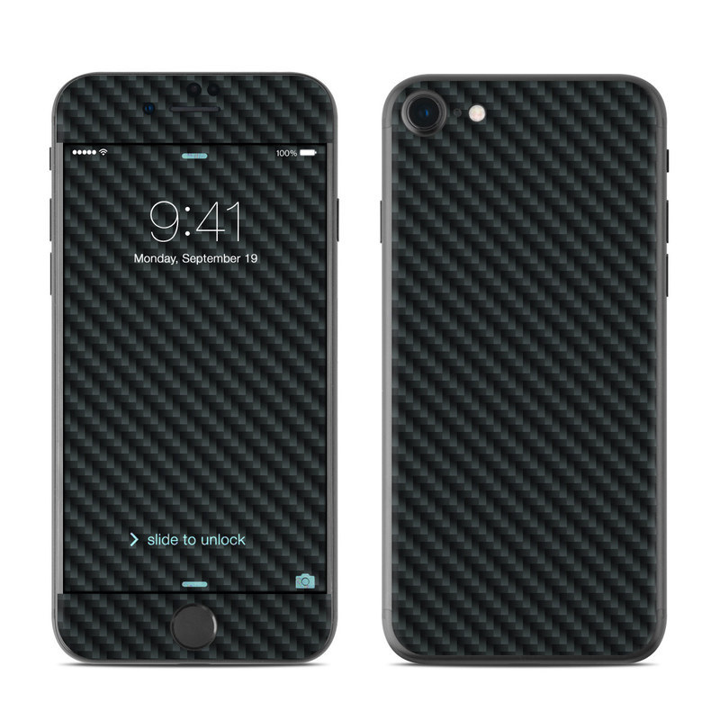 iPhone 8 Skin design of Green, Black, Blue, Pattern, Turquoise, Carbon, Textile, Metal, Mesh, Woven fabric with black colors