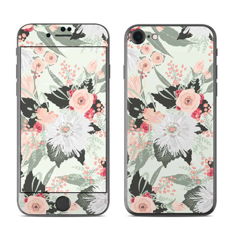 iPhone 8 Skin design of Pattern, Pink, Floral design, Design, Textile, Wrapping paper, Plant, Peach, Flower with green, red, white, pink colors
