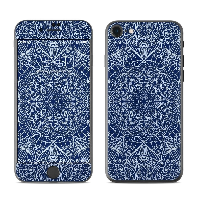 iPhone 8 Skin design of Blue, Pattern, Azure, Cobalt blue, Design, Textile, Electric blue, Wallpaper, Symmetry with blue, white colors