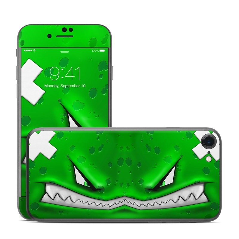 iPhone 8 Skin design of Green, Font, Animation, Logo, Graphics, Games with green, white colors