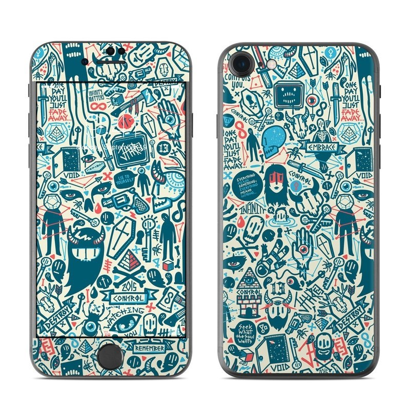 iPhone 8 Skin design of Pattern, Psychedelic art, Turquoise, Art, Design, Visual arts, Line, Drawing, Doodle, Graphic design with white, green, blue, red colors
