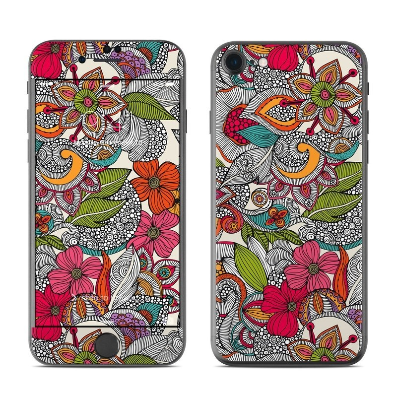 iPhone 8 Skin design of Pattern, Drawing, Visual arts, Art, Design, Doodle, Floral design, Motif, Illustration, Textile with gray, red, black, green, purple, blue colors