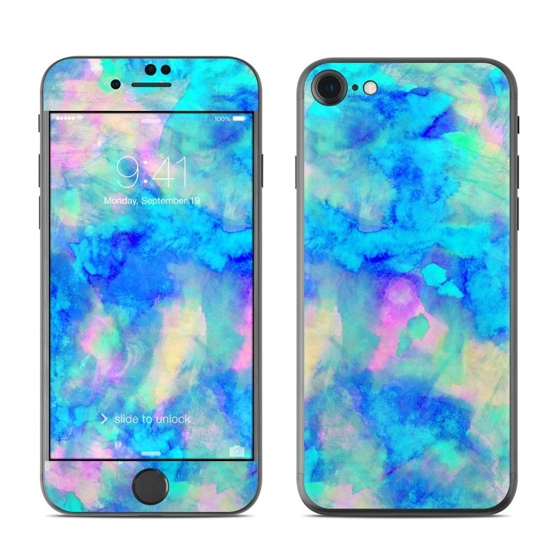 iPhone 8 Skin design of Blue, Turquoise, Aqua, Pattern, Dye, Design, Sky, Electric blue, Art, Watercolor paint with blue, purple colors