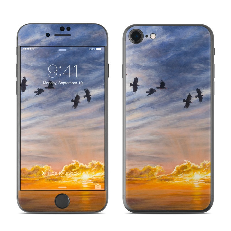 iPhone 8 Skin design of Sky, Cloud, Nature, Blue, Daytime, Atmosphere, Sunset, Afterglow, Evening, Horizon with black, blue, yellow, orange, white colors