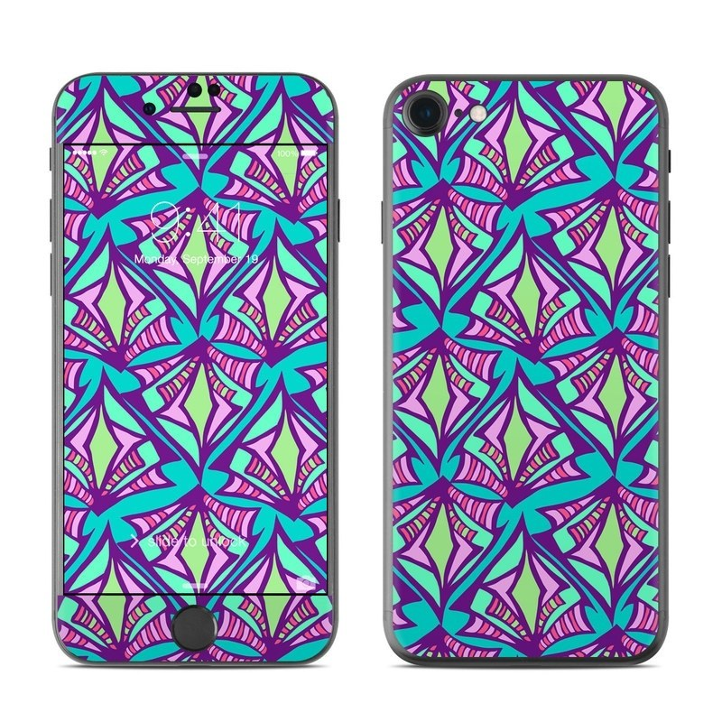 iPhone 8 Skin design of Pattern, Purple, Pink, Line, Magenta, Symmetry, Design, Teal, Textile with blue, purple, gray, green, pink colors