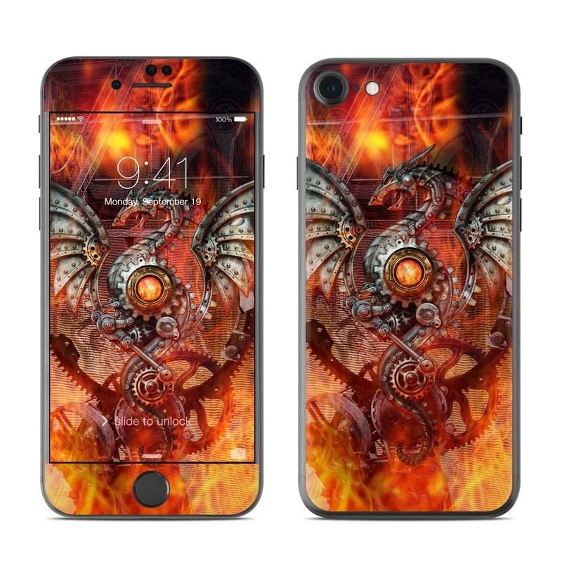 iPhone 8 Skin design of Dragon, Demon, Cg artwork, Illustration, Fictional character, Fractal art, Flame, Art, Mythology, Supernatural creature with red, black, orange, pink, green colors