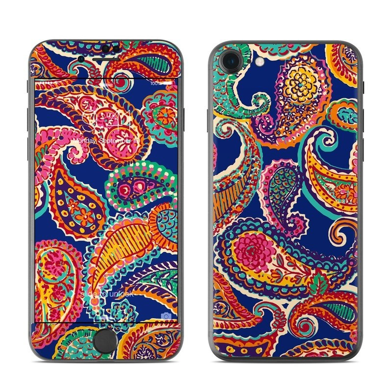 iPhone 8 Skin design of Pattern, Paisley, Motif, Art, Visual arts, Design, Textile, Embroidery with red, black, gray, blue, green colors