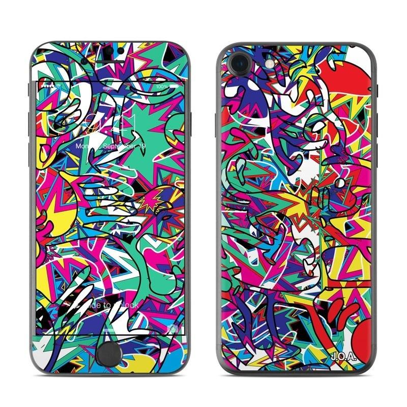 iPhone 8 Skin design of Psychedelic art, Art, Visual arts, Pattern, Design, Graffiti, Graphic design, Modern art, Illustration with black, red, blue, purple, gray colors