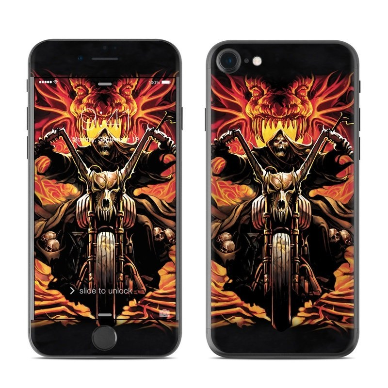 iPhone 8 Skin design of Demon, Fictional character, Illustration, Darkness, Supernatural creature, Cg artwork, Fiction, Graphic design, Mythology, Skull with black, red, green, gray colors