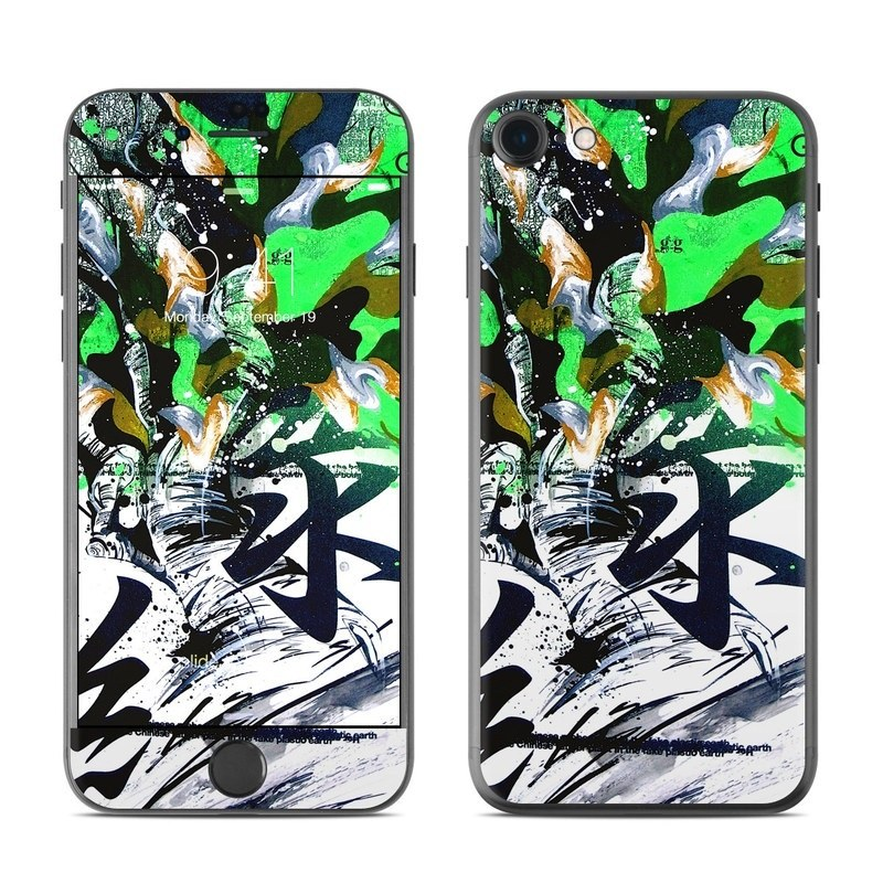 iPhone 8 Skin design of Graphic design, Green, Illustration, Art, Tree, Modern art, Design, Graphics, Visual arts, Printmaking with black, gray, white, green, blue colors