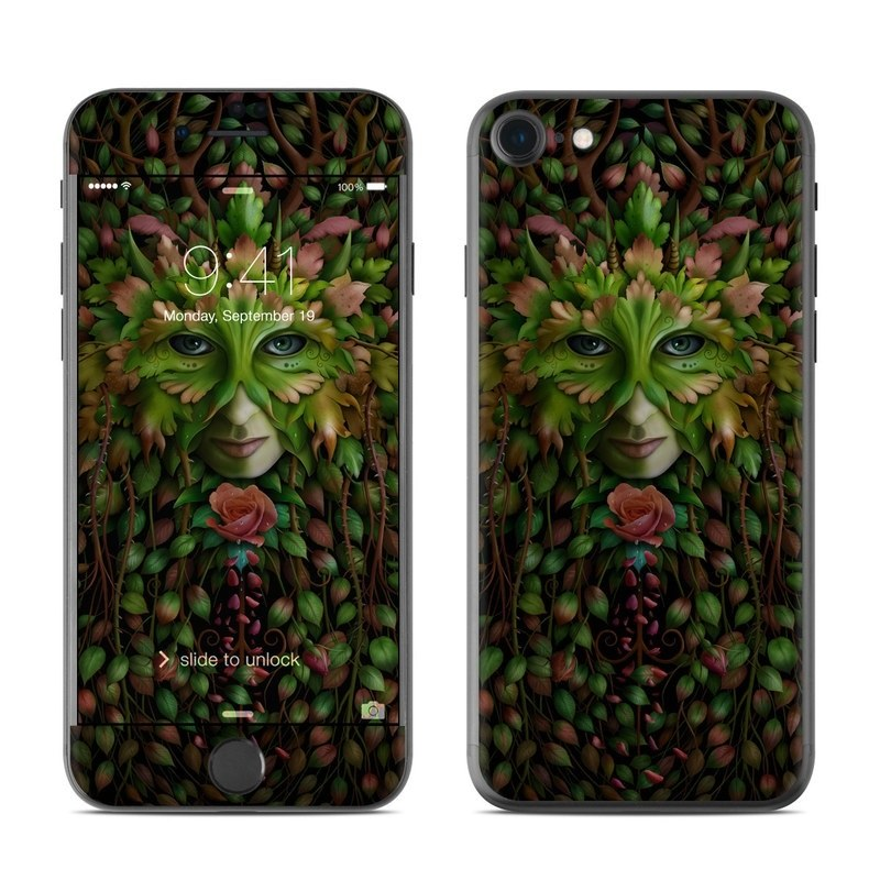iPhone 8 Skin design of Green, Illustration, Plant, Tree, Fictional character, Art with black, red, green colors
