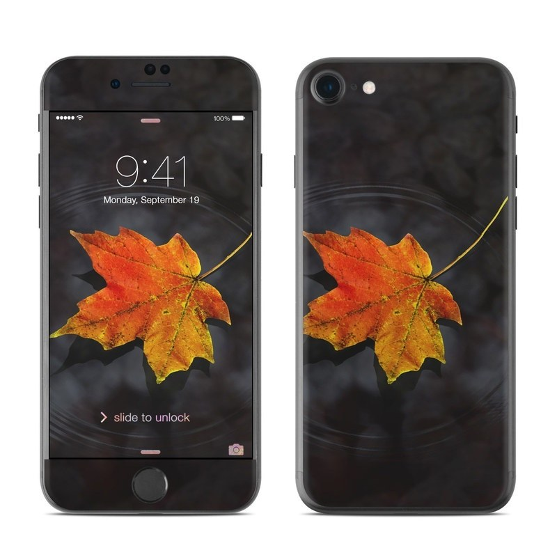 iPhone 8 Skin design of Leaf, Maple leaf, Tree, Black maple, Sky, Yellow, Deciduous, Orange, Autumn, Red with black, red, green colors