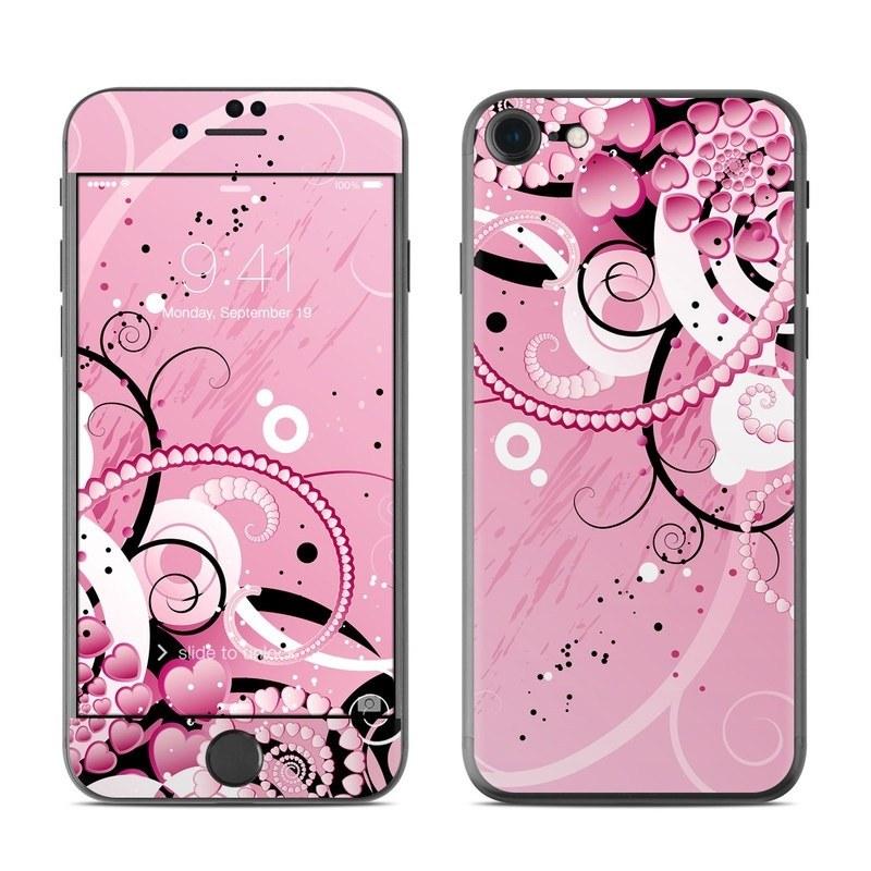 iPhone 8 Skin design of Pink, Floral design, Graphic design, Text, Design, Flower Arranging, Pattern, Illustration, Flower, Floristry with pink, gray, black, white, purple, red colors