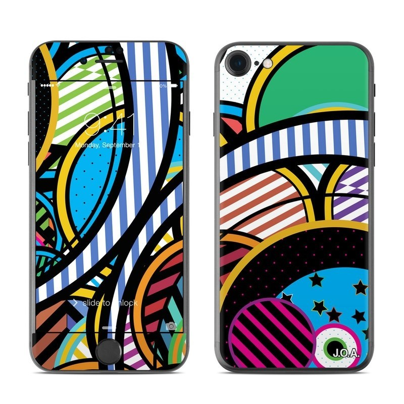 iPhone 8 Skin design of Psychedelic art, Pattern, Line, Graphic design, Visual arts, Design, Art, Illustration, Circle, Graphics with black, blue, green, white, gray, red colors