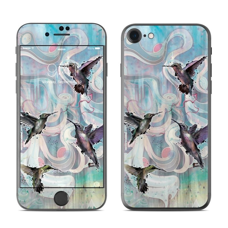 iPhone 8 Skin design of Bird, Watercolor paint, Illustration, Hummingbird, Painting, Art, Wing, Fictional character, Acrylic paint, Perching bird with gray, blue, black colors