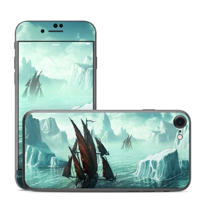 iPhone 8 Skin design of Cg artwork, Vehicle, Ghost ship, Manila galleon, Fluyt, Adventure game, First-rate, Sailing ship, Mythology, Strategy video game with gray, black, blue, green, white colors
