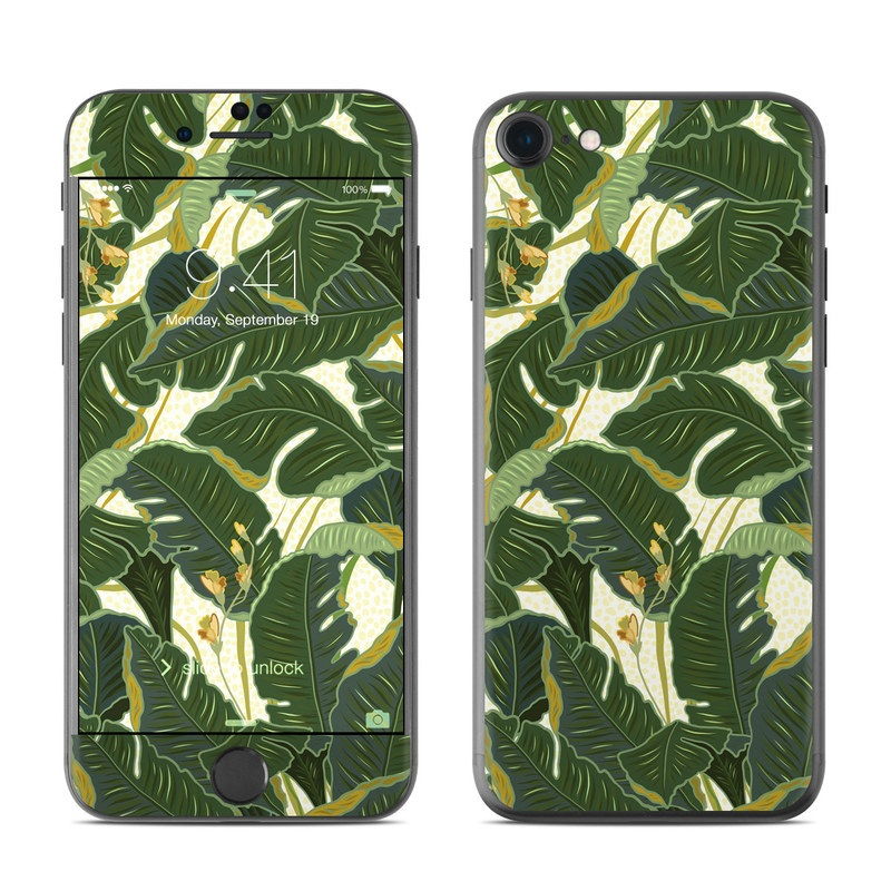 iPhone 8 Skin design of Leaf, Plant, Flower, Pattern, Botany, Tree, Design, Flowering plant, Arrowroot family, Terrestrial plant with green, yellow colors