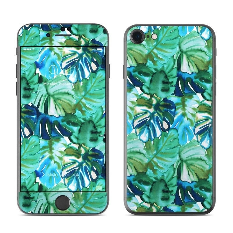 iPhone 8 Skin design of Leaf, Plant, Flower, Pattern, Tree, Botany, Organism, Flowering plant with green colors