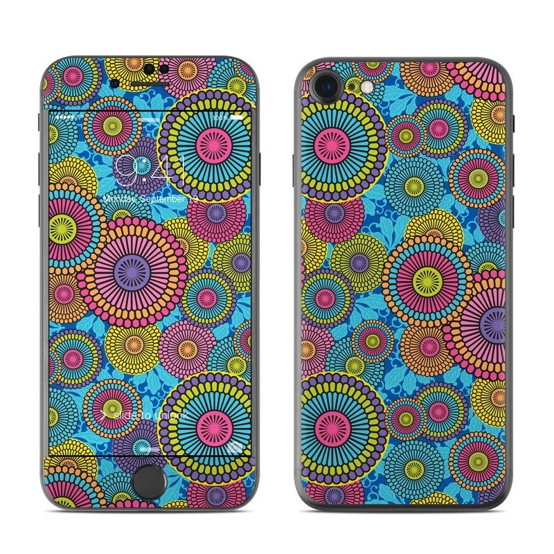 iPhone 8 Skin design of Pattern, Circle, Psychedelic art, Textile, Visual arts, Design, Art, Floral design, Motif with black, blue, green, purple, red colors