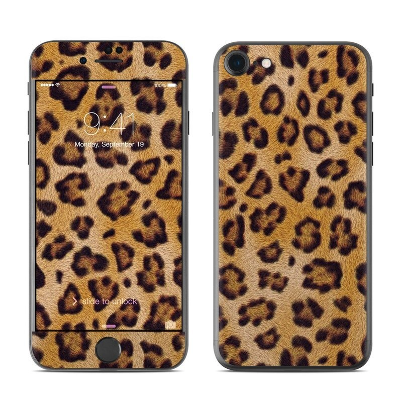 iPhone 8 Skin design of Pattern, Felidae, Fur, Brown, Design, Terrestrial animal, Close-up, Big cats, African leopard, Organism with orange, black colors
