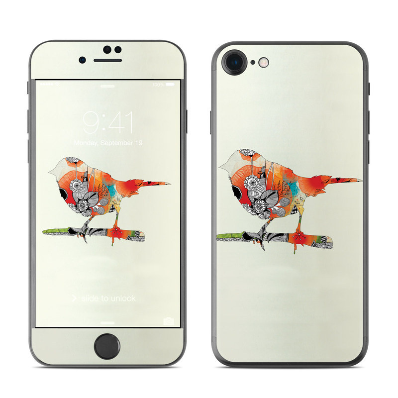 iPhone 8 Skin design of Illustration, Bird, Art, Graphic design with gray, yellow, red, green, black colors