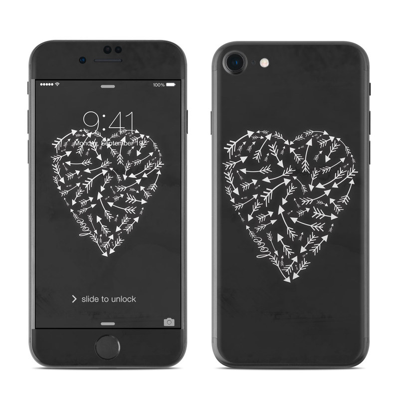 iPhone 8 Skin design of Heart, Leaf, Organ, Illustration, Pattern, Hand, Font, Black-and-white, Love with black, white colors