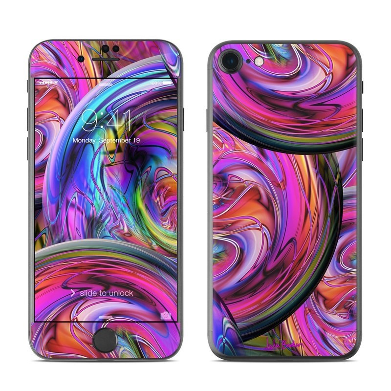 iPhone 8 Skin design of Pattern, Psychedelic art, Purple, Art, Fractal art, Design, Graphic design, Colorfulness, Textile, Visual arts with purple, black, red, gray, blue, green colors